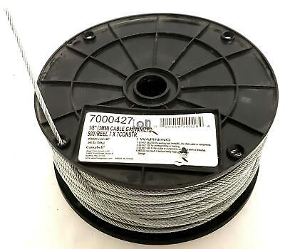 """500ft Reel 1/8"""" Wire Rope 7x7 Galvanized Steel Bare 340lb"""