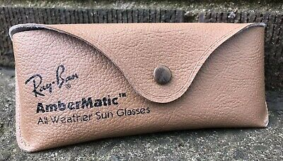 Vintage 80s Ray-Ban AmberMatic Eyeglass Sunglass Case With Belt Clip