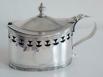 Antique Silver (Georgian) Mustard Pot - London 1800 (With Blue Glass Liner)