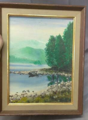 Vintage Old Oil Painting Landscape Pine Trees Lake Row Boat Rocky Coast American