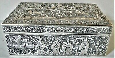 Lg Exquisite Chinese Export Silver Covered Box Figural Decor Signed 710 Gr 1880