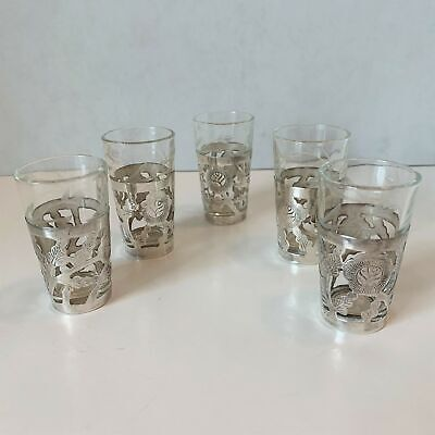 Lot of 5 Vintage Mexican Sterling Silver and Etched Glass Shot Glasses Signed