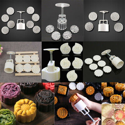 50-125g Mooncake Round Stamp Pastry Biscuit Baking Mold Mould Flower DIY Tool