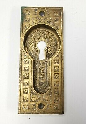 "Antique Pocket Door Hardware Pull Skeleton Keyhole Ornate Brass 4 3/4"" x 2"""
