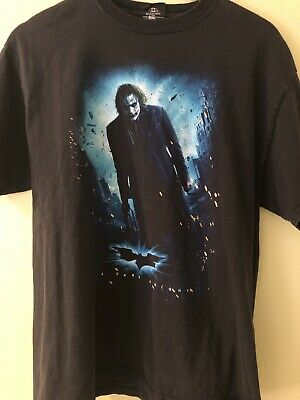 Batman Joker T Shirt Sz L Dark Knight Heath Ledger DC Comics Black Graphic Tee P
