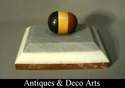 Art Deco Marble Paperweight with Belgian Flag Egg-shape Knob