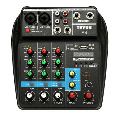 4-Channel Professional Line Live Mixing Studio Audio Sound Mixer Console
