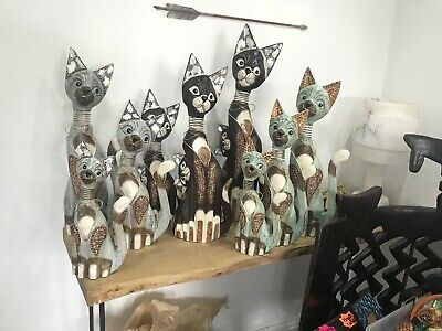 Wooden Cats Carved Tall Large Big Statue Figures Kitten Ornaments Collectable
