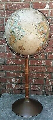 "Vtg Replogle 16"" World Classic Series Globe USSR Metal & Wood Stand Gyro-Matic"