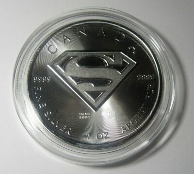 2016 1 oz Canada Superman S-Shield BU .9999 Fine Silver Coin w/ Ait Tite