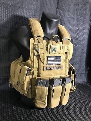 Tactical Vest COYOTE Tan Plate Carrier BODY ARMOR Military Matches Multicam