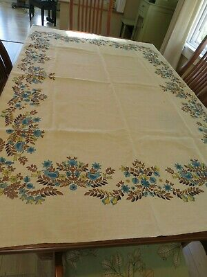 """Vintage linen blue and brown floral tablecloth 60"""" x 50"""""""