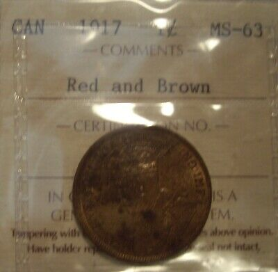 Canada George V 1917 Large Cent - ICCS MS-63
