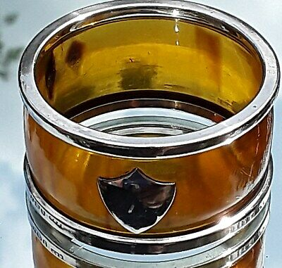 RARE ART DECO W H Haseler FAUX BLONDE TORTOISESHELL & SOLID SILVER NAPKIN RING