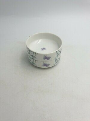 """Vtg St Michael Japanese """"Jade Bamboo"""" Two Tier 2Pc Bowl Shaped Box Butterflies"""