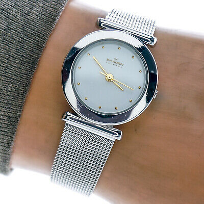 Skagen Womans Watch 107SSS Slim Stainless Steel White Dial 30m Mesh Band Working