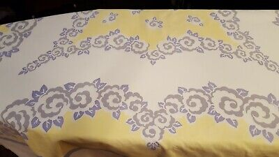 Vintage tablecloth, cotton sheeting, 1940's or 50's, modern floral, VGC