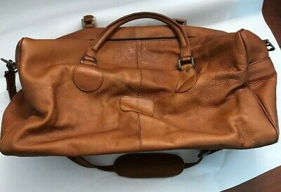 Latico Leather Duffle Bag Chestnut Brown Soft Shoulder Strap Outside Pocket Lg