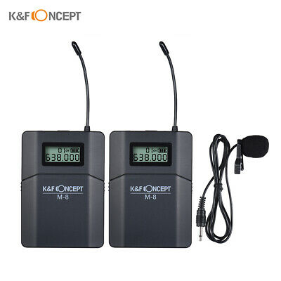 K&F CONCEPT M-8 UHF Wireless Lapel Microphone w/ Transmitter Receiver For Canon