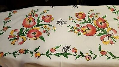 Vintage tablecloth/topper, heavy cotton, vibrant tulips in bright colors, VGC!