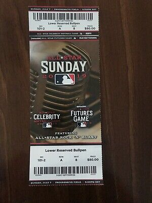 MLB All-Star Game 2019 Cleveland Futures Game/Celebrity Softball Full Ticket