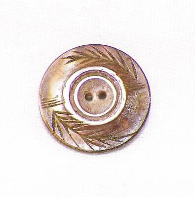 Antique Smoky Mother of Pearl Button Leaf Carved Small Iridescent A Beauty #26