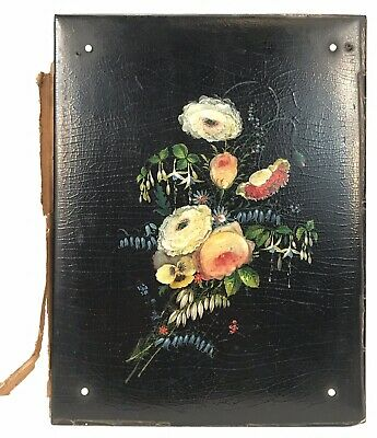 Antique Victorian Late 19th C Black Lacquer Floral Painted Mother Of Pearl Folio