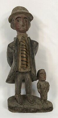 "Vintage 18"" Folk Art Hand Carved & Painted Man & Son Sculpture Statue"