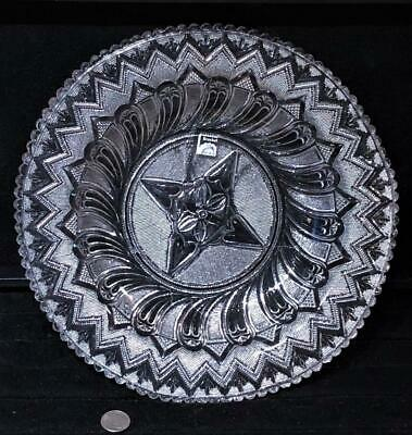 "Antique Sandwich Lacy Pressed ""Feather & Quatrefoil"" Flint Glass Dish, c. 1830"