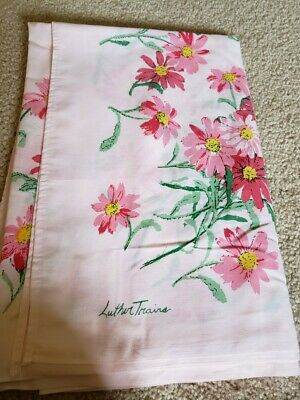 Vintage Luther Travis Pink Daisy Design on Pink Tablecloth 60 x 72 Mid Century