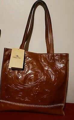 Nwt Patricia Nash Brown Tooled Leather Tote