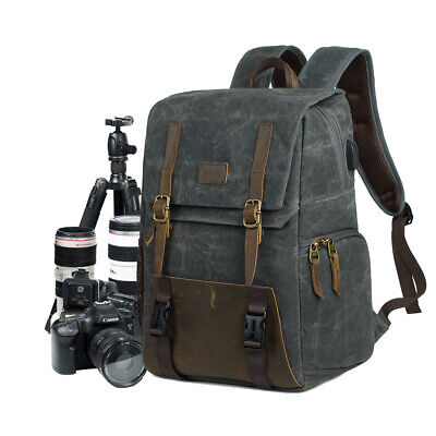 Camera Backpack DSLR SLR Canvas Camera Bag 15.6'' Laptop Travel Lens Organizer