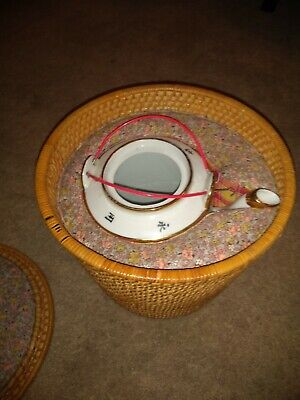Antique Chinese Teapot White  with Woven Basket case