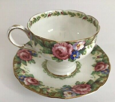 Paragon Fine Bone China Teacup and Saucer Set Tapestry Rose 1940s England