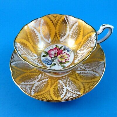 Rich Gold with Yolk Yellow and Sweetpeas Paragon Tea Cup and Saucer Set