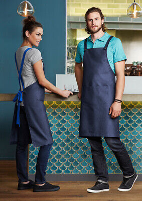 Biz Collection Unisex Urban Bib Apron Removable Self-fabric X-back Straps Cafe..