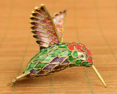 Antiques China old cloisonne hand painting hummingbird statue pendant noble gift