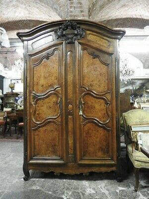 Important Antique Closet Louis XV Dated 1762 Nut Briar of Maple High Savoia