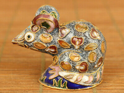 Ancient Chinese old cloisonne hand painting mouse statue figure noble decoration