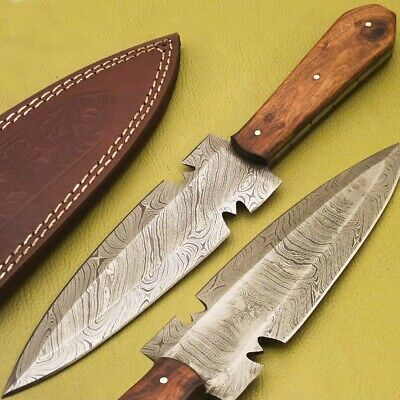 Hand Forged Damascus Steel Full Tang Dagger Knife -Natural Wood Handle-B-1169