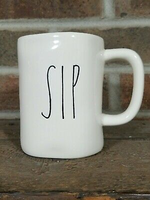 "NWOT! Rae Dunn ""SIP"" soup / cereal  mug Artisan Collection - Ivory / Magenta ltr"