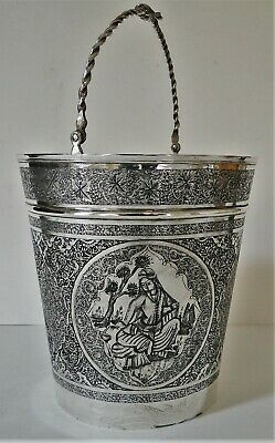 Antique Superb Quality Figural Decor Persian 84 Silver Ice Bucket Vartan 409 Gr