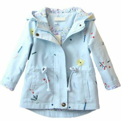 Kids Windbreaker Coat Outwear Jacket Baby Girl Flower Embroidery Hooded Autumn