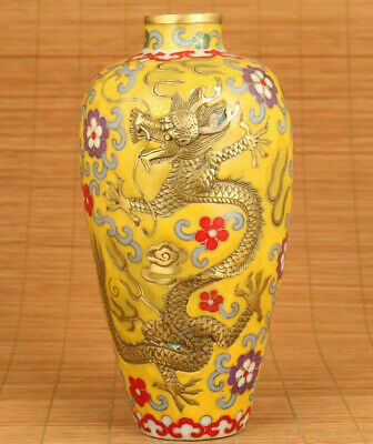Antiques Chinese old cloisonne relief dragon phoenix statue vase decoration gift