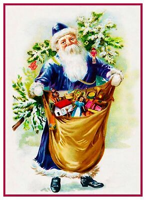 Vintage Christmas Holiday Santa Claus # 502 Counted Cross Stitch Pattern
