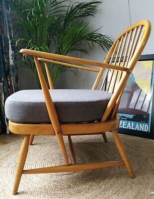 Rare Ercol 334 Windsor Armchair with new Grey upholstery Matching pair available