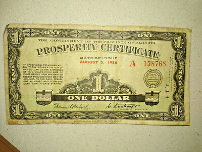 1936 Government of Alberta Prosperity Certificate $1 with one stamp #A 158768