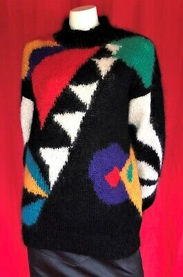 Vintage 80's 90's Oversized Multi Coloured Abstract Mohair & Wool Jumper S-M-L