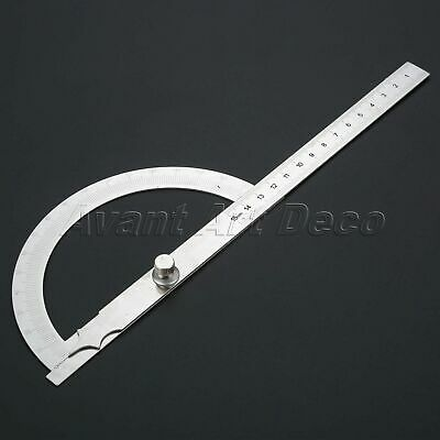 0-180 Degree Protractor Arm Stainless Steel 15cm Ruler Angle Finder Gauge Tools
