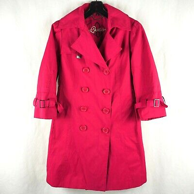 GUESS Girls' Trench Coat Jacket Big Button Stretch Cotton Blend Hot Pink Large